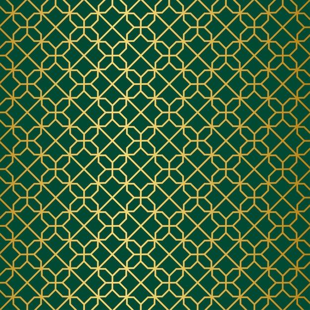 Gold green geometric pattern Premium Vector