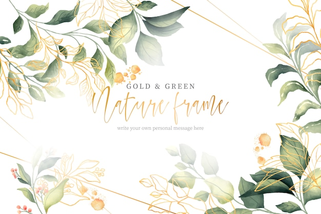 Gold and green nature frame Free Vector