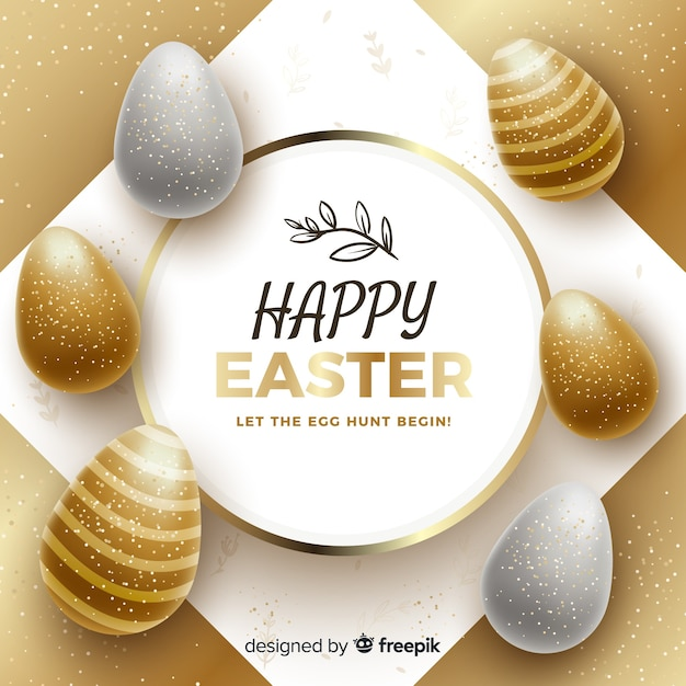 Gold happy easter day background Free Vector