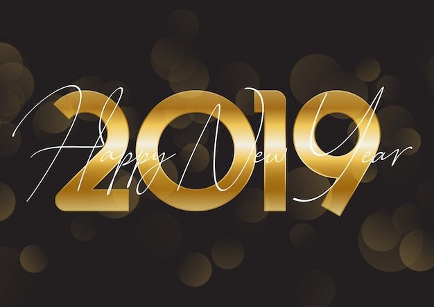 Gold happy new year background Free Vector