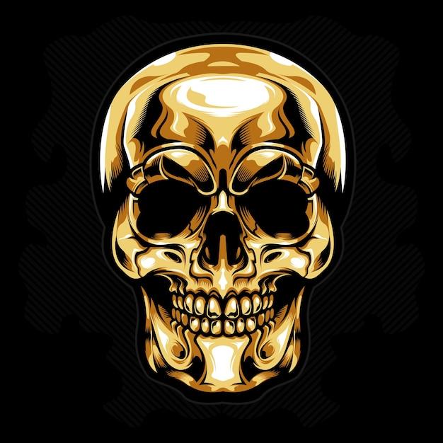 Gold head skull vector Premium Vector