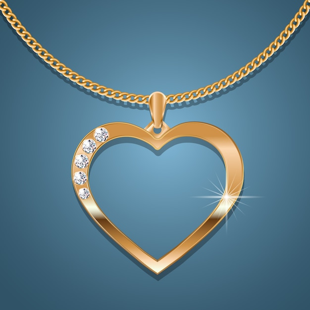 Gold heart necklace on a gold chain. Premium Vector