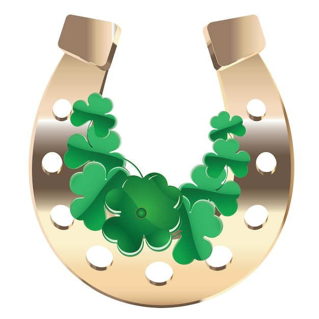 Gold horseshoe with clover Premium Vector