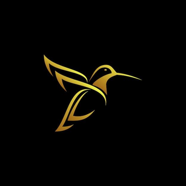 Gold humming bird logo Premium Vector