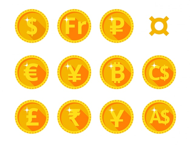 Gold icons of the world currency Premium Vector