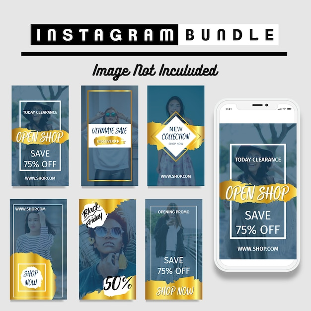 Gold instagram story fashion template Premium Vector