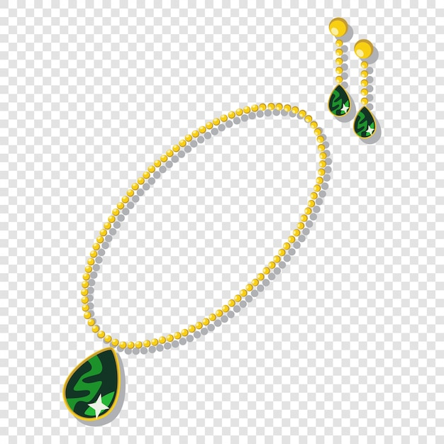 Gold jewelry accessories: necklaces and earrings with green gemstones. Premium Vector