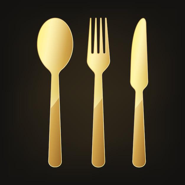 Золотой нож, вилка и ложка значок Premium векторы