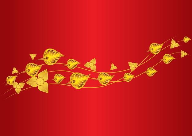Gold leaf fly mesmerize and bo leaf thai leaf Premium Vector