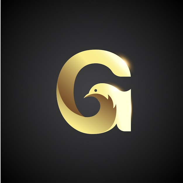 Gold letter g with dove logo concept. creative and elegant logo design template. Premium Vector