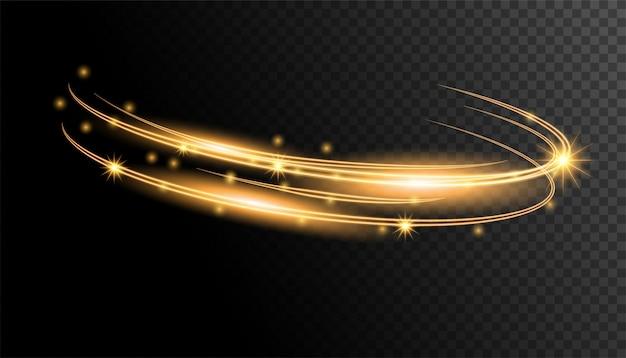 Gold light circle Premium Vector