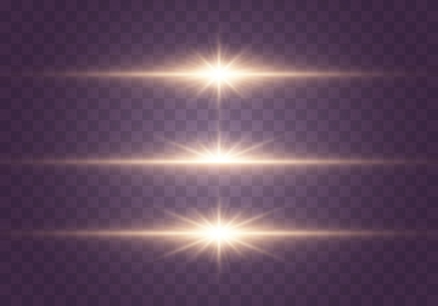 Gold light effect and sparkles on transparent Premium Vector