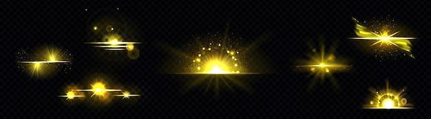 Luce dorata, sole radioso, linea dorata, sprazzo di sole isolato sul nero Vettore gratuito