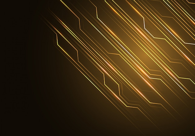 gold line circuit light with black blank space background  vector