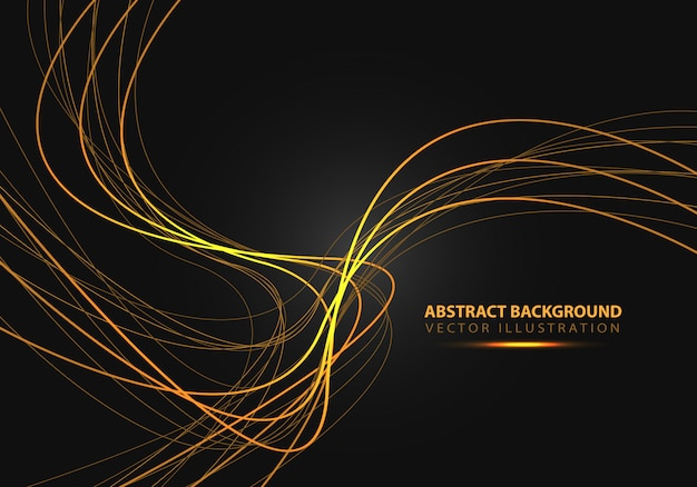 Gold line curve with simple text on black background. Premium Vector