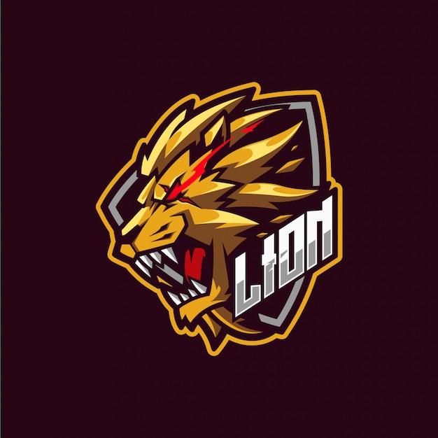 Gold lion mascot logo Premium Vector