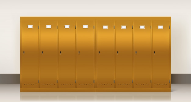 Gold lockers,  school or gym changing room Free Vector