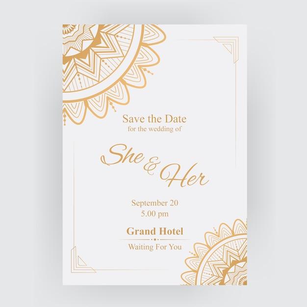 Gold luxury wedding invitation card Premium Vector