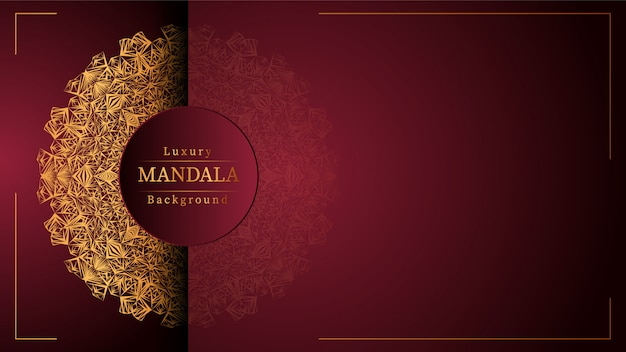 Gold mandala with red background Premium Vector