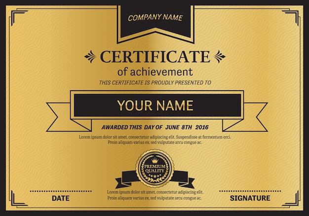 Gold Medal Certificate Template Vector Premium Download