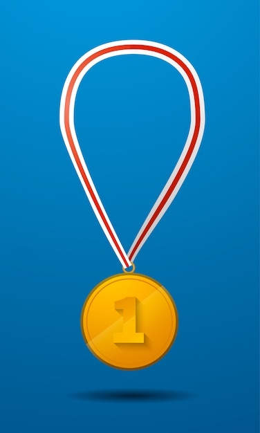 Gold medal for first place with tape vector icon Premium Vector