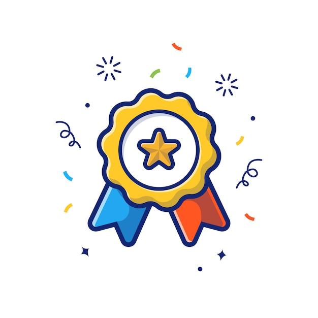 Gold medal  icon . gold medallion, reward icon  white isolated Premium Vector