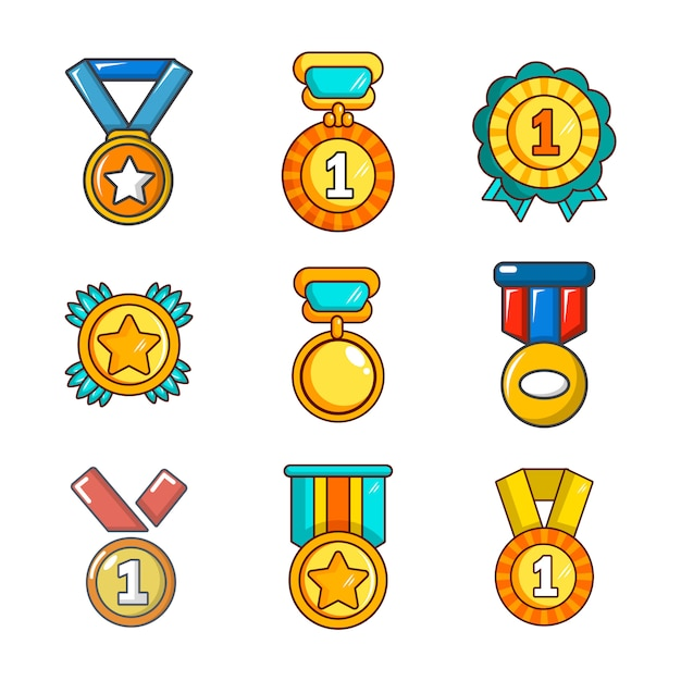 Gold medal icon set. cartoon set of gold medal vector icons collection isolated Premium Vector