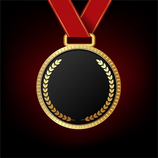 Gold medal isolated on red background  Premium Vector