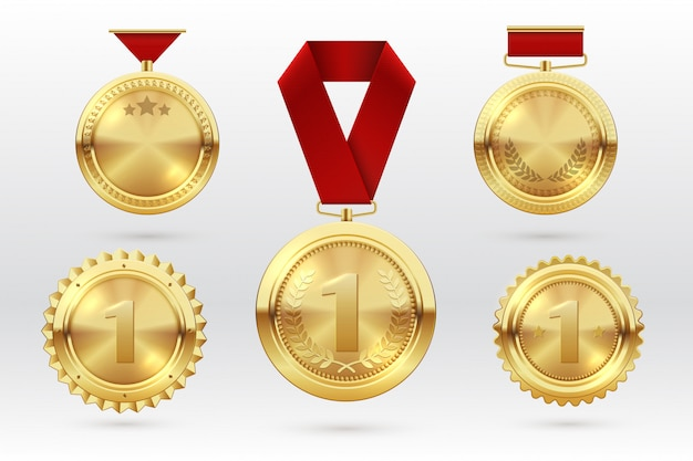 Gold medal. number 1 golden medals with red award ribbons. first placement winner trophy prize. vector set Premium Vector