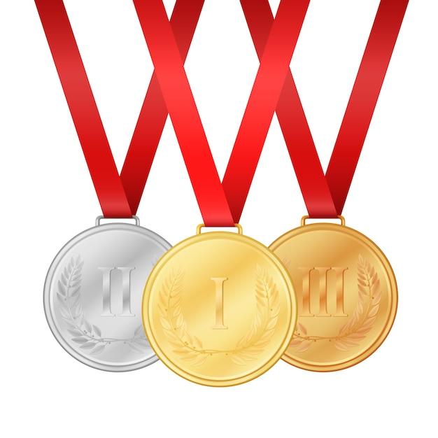 金メダル。銀メダル。銅メダル。白い背景の図に分離されたメダルセット Premiumベクター