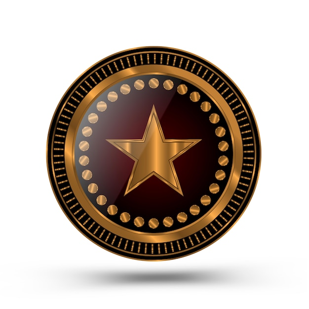 Gold medal in the style of the sheriff badge isolated Premium Vector