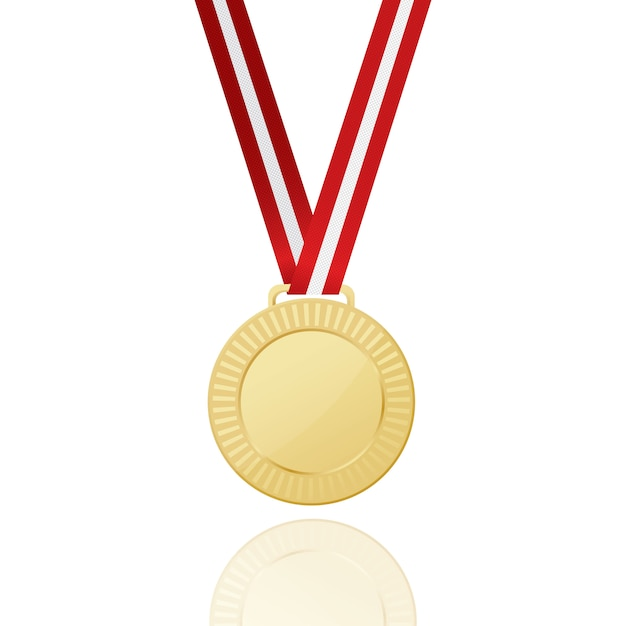 Gold medal with red ribbon. icon. Premium Vector