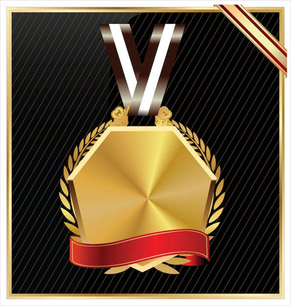 Gold medal Premium Vector