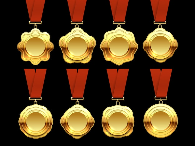 Gold medals vector collection on red ribbons Premium Vector