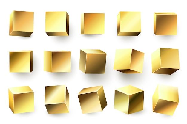 ゴールドメタルキューブ。リアルな幾何学的な3d正方形、金色の金属製の立方体、光沢のある黄色の形状 Premiumベクター
