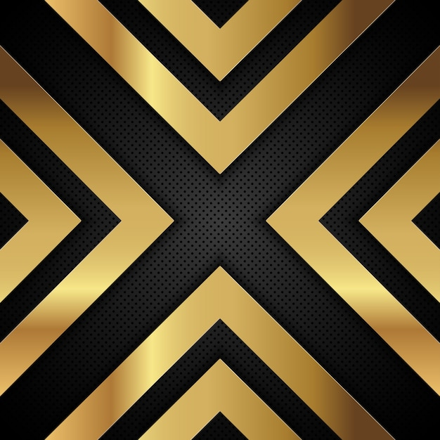 Gold metallic arrow shapes on a perforated metal background Free Vector