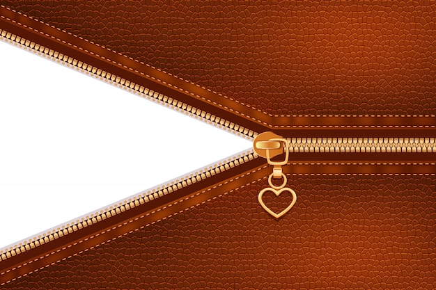 Gold metallic zipper sewing to leather Free Vector