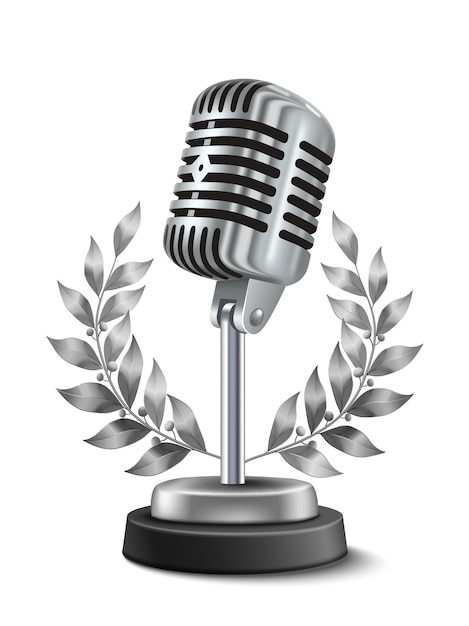 Gold microphone award Free Vector