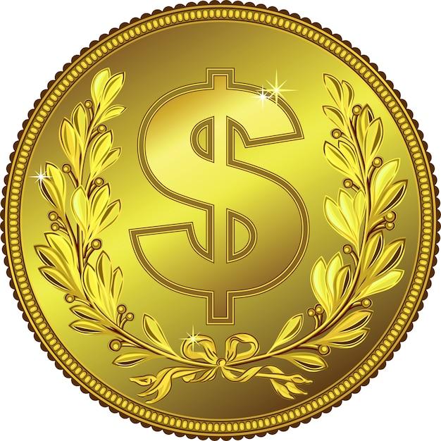 月桂冠とゴールドマネードルコイン Premiumベクター