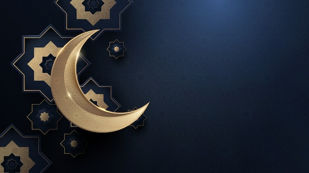 Gold moon and abstract luxury islamic elements background Premium Vector