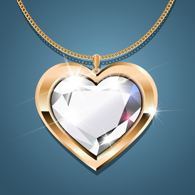 Gold necklace with a diamond. Premium Vector