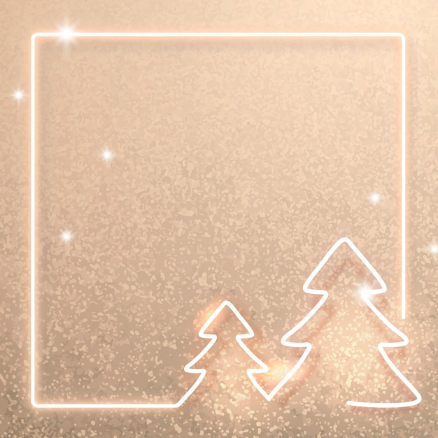 Gold neon christmas frame background Free Vector
