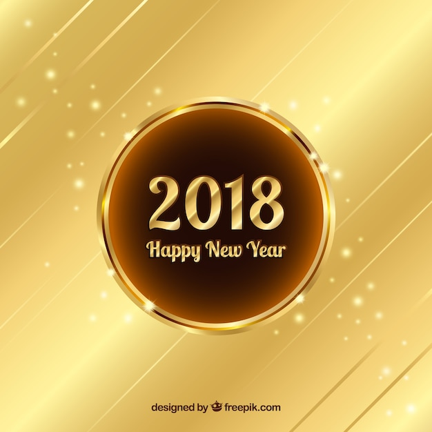 Gold new year 2018 background Free Vector