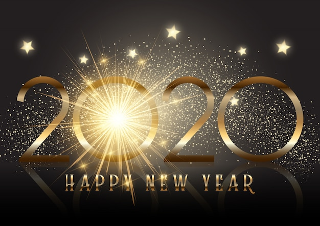 Gold new year background with sparkle effect Free Vector