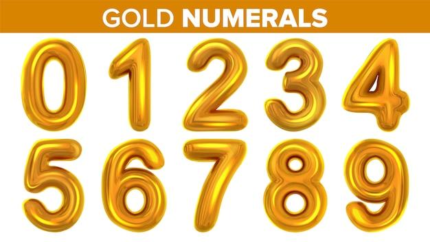 Gold numerals set Premium Vector