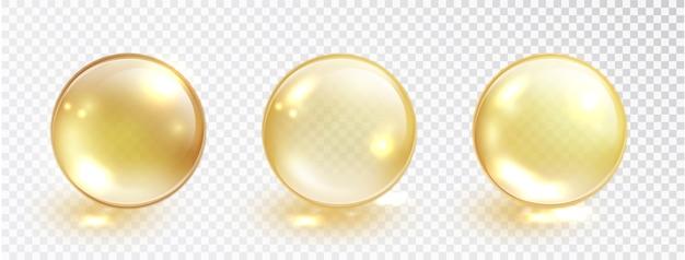 Набор золотых масляных пузырей, изолированные на прозрачной. Бесплатные векторы
