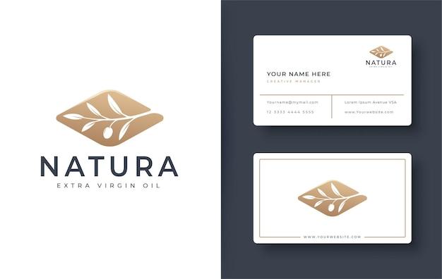 Золотой логотип оливковой ветви и дизайн визитной карточки Premium векторы