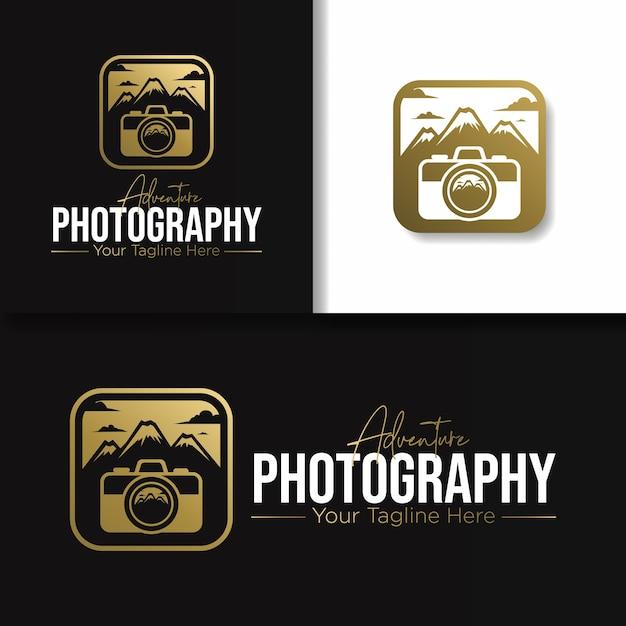 ゴールドのアウトドアアドベンチャー写真のロゴとアイコン Premiumベクター