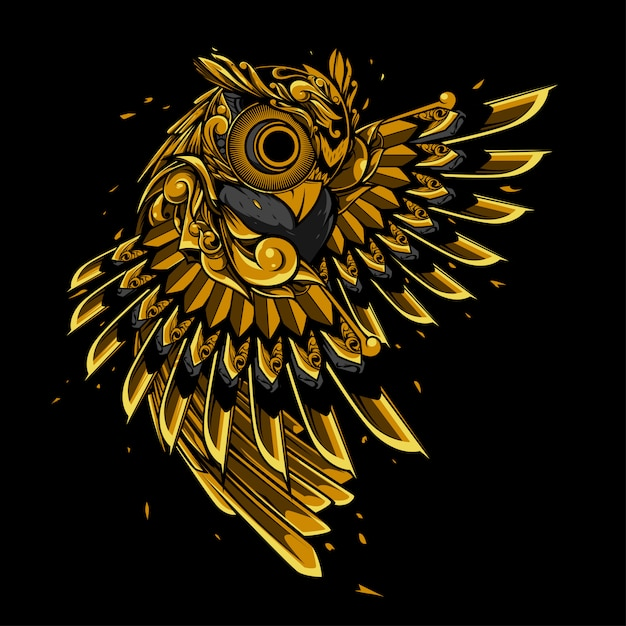 Gold owl doodle ornament illustration, tattoo and tshirt design Premium Vector
