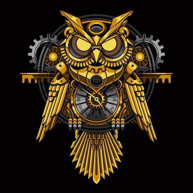 Gold owl steampunk illustration Premium Vector